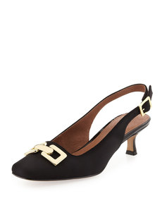 Donald J Pliner Selba Chain-Buckle Slingback Pump, Black