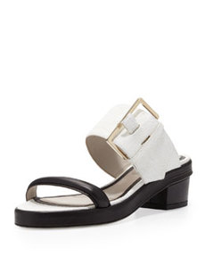 Bicolor Buckled Double-Band Sandal   Bicolor Buckled Double-Band Sandal