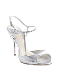 Christian Dior platinum silver snakeskin embossed leather sandals