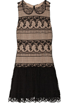 Alice + Olivia Peri lace and crepe de chine mini dress