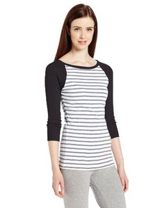 Calvin Klein Performance Women's 3/4 Sleeve Colorblock Stripe Tee