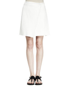 Edburg Asymmetric Leather-Combo Wrap Skirt   Edburg Asymmetric Leather-Combo Wrap Skirt