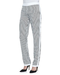 Delia Striped Straight-Leg Trousers   Delia Striped Straight-Leg Trousers