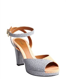 Fendi pastel blue and coral pebbled leather colorblock sandals