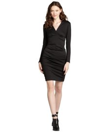 Nicole Miller black ponte v-neck stretch ruched long sleeve dress