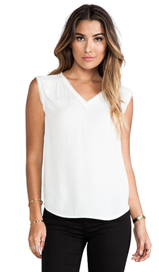 Ella Moss Stella Mesh V Neck Top in White