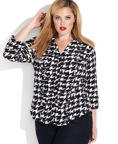 INC International Concepts Plus Size Houndstooth Ruched Blouse