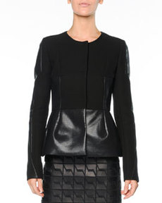 Crepe & Coated Cotton Peplum Jacket, Black   Crepe & Coated Cotton Peplum Jacket, Black