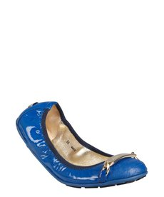 Jimmy Choo cobalt blue patent leather 'Wigmore' cap toe logo flats