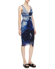Plunging Ruched-Front Dress, Blue   Plunging Ruched-Front Dress, Blue