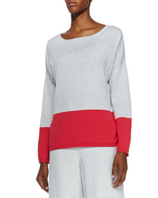 Joan Vass Long-Sleeve Colorblocked Cotton Top
