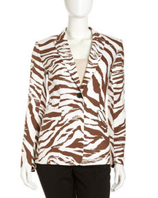 Lafayette 148 New York Mack Zebra-Stripe Jacket, Coconut