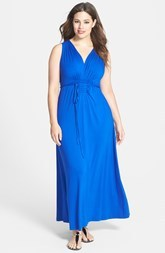 Calvin Klein Pleated V-Neck Jersey Maxi Dress (Plus Size)