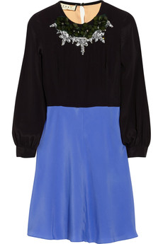 Marni Embellished crepe de chine dress