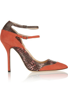 Oscar de la Renta Sisi elaphe and suede pumps