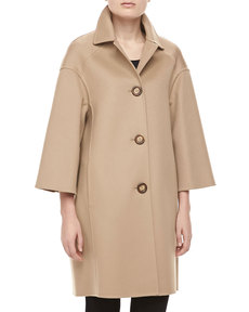 Michael Kors Double-Face Melton Wool Coat, Fawn