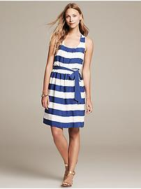 Striped Twist-Strap Dress