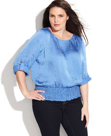 MICHAEL Michael Kors Plus Size Roll-Tab-Sleeve Peasant Blouse