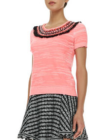 Embellished Space-Dye Knit Top   Embellished Space-Dye Knit Top
