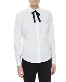 JASON WU Twill Spread-Collar Long-Sleeve Shirt