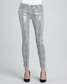 J Brand Ready to Wear Metallic Python-Print Suede Skinny Pants