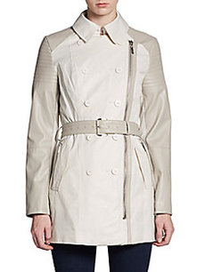 Laundry by Shelli Segal Faux Leather-Trimmed Short Trenchcoat
