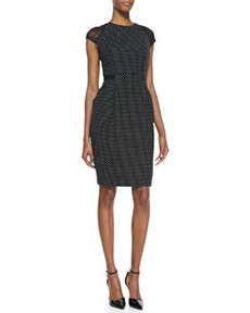 Cap-Sleeve Swiss-Dot Sheath Dress, Black/White   Cap-Sleeve Swiss-Dot Sheath Dress, Black/White