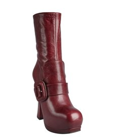 Miu Miu brick leather flap buckle strapped platform boots