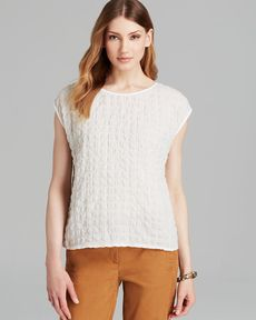 Eileen Fisher Boat Neck Cap Sleeve Top