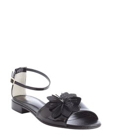 Fendi black leather flower detail anklestrap sandals
