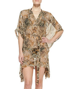 Lima Animal-Print Silk Coverup   Lima Animal-Print Silk Coverup