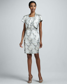 Albert Nipon Floral-Jacquard Dress with Bolero