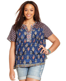 Lucky Brand Plus Size Split-Neck Mixed-Print Top