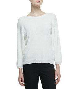 3/4-Sleeve Knit Top with Keyhole Back   3/4-Sleeve Knit Top with Keyhole Back
