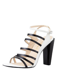 Ella Strappy Leather Sandal, White   Ella Strappy Leather Sandal, White