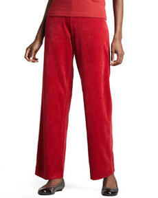 Joan Vass Velour Straight-Leg Pants, Women's