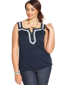 Lucky Brand Plus Size Embellished Tank Top