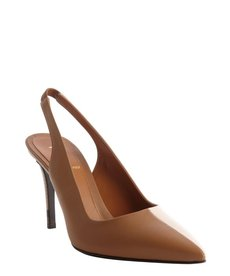 Fendi sand and pink leather colorblock singleback pumps