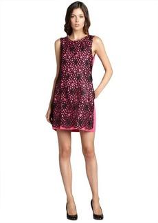 A.B.S. by Allen Schwartz fuschia lace overlay pocketed sleeveless linen dress