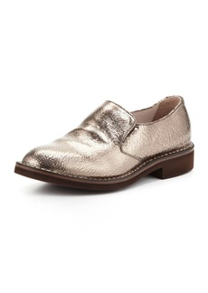 Brunello Cucinelli Crackle Metallic Slip-On Loafer, Silver