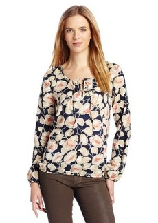 Lucky Brand Women's Floral Vine Lace Up Top