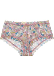 Hanky Panky Mid-rise floral-print stretch-lace boy shorts