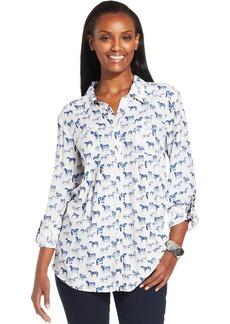 Style&co. Petite Mixed-Print Button-Down Shirt