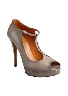 Gucci grey leather 'Betty' t-strap platform peep toe pumps