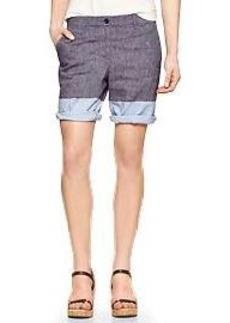 Colorblock chambray boyfriend roll-up shorts
