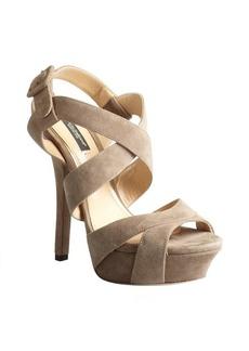 Dolce & Gabbana putty suede strappy platform sandals
