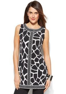 Alfani Petite Zebra-Print Embellished Tunic