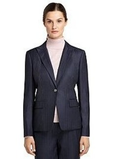 Petite Classic Fit One-Button Pinstripe Jacket