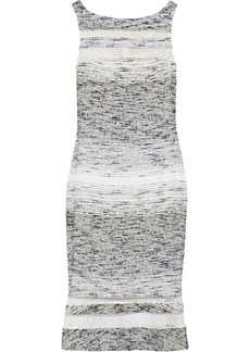 Badgley Mischka Mesh-paneled dégradé tweed dress