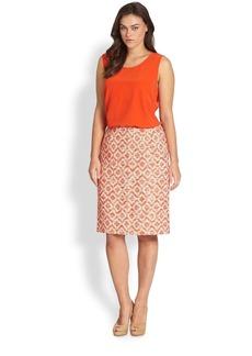 Lafayette 148 New York, Sizes 14-24 Printed Modern Slim Skirt